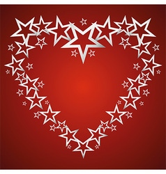 Silver stars in the shape of heart vector image vector image