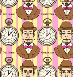 Sketch man in hat and pocket watch vector