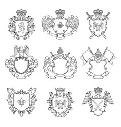 template of heraldic emblems different empty vector image vector image