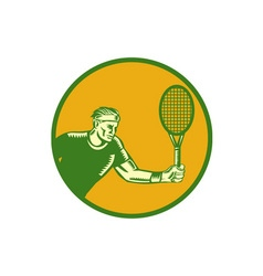 Tennis player forehand circle woodcut vector