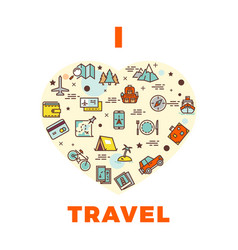 travel poster or print - i love travel design with vector image vector image