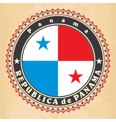 Vintage label cards of panama flag vector