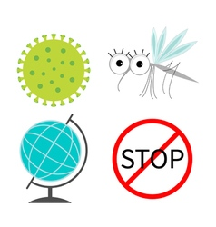 Virus zika icon set mosquito cute cartoon insect vector