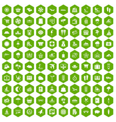 100 seaside resort icons hexagon green vector
