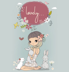cute girl with white hares vector image