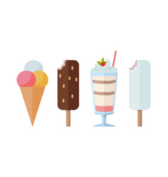 Different sweet frozen ice cream collection vector