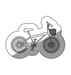 sticker monochrome contour of bike with basket in vector image