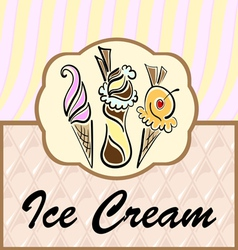 Text frame with abstract ice cream symbols vector image