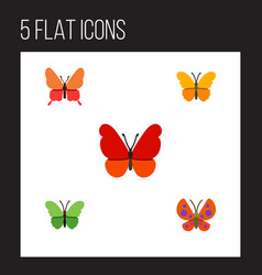 Flat moth set of milkweed butterfly monarch and vector