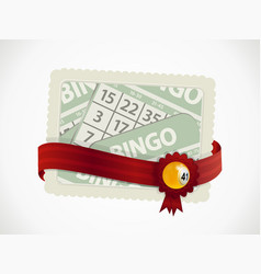Bingo gift card and ribbon with crest and ball vector