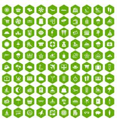 100 seaside resort icons hexagon green vector