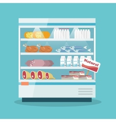 Supermarket cooling shelves food collection vector image