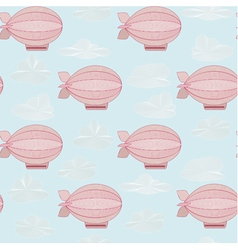 Seamless pattern with pink zeppelins vector