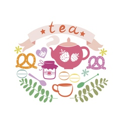 Composition with tea pot and sweets vector