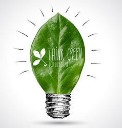 Green eco energy concept leaf inside light bulb vector