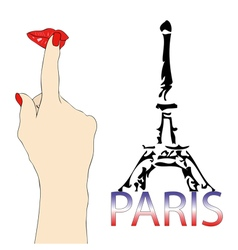 A big kiss from the eiffel tower in paris vector
