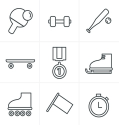 Line icons style set of monochromatic vector