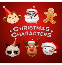 Christmas cute characters vector