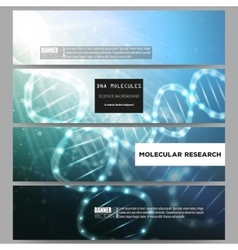 Set of modern banners dna molecule vector