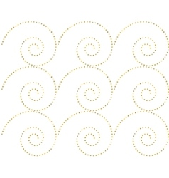 Seamless pattern of golden dots spirals vector image