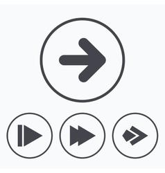 Arrow icons next navigation signs symbols vector