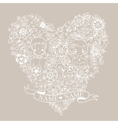 Wedding heart with flowers and birds vector