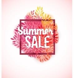 Summer sale watercolor flower decoration vector