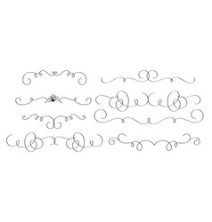 Art calligraphy set of vintage decorative whorls vector