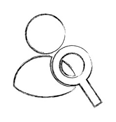 Avatar user with magnifying glass vector