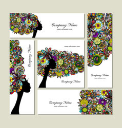 Business cards design female floral portrait vector