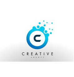 C letter logo blue dots bubble design vector