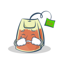 Crying tea bag character cartoon art vector