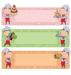 Cute chefs horizontal banners vector image vector image