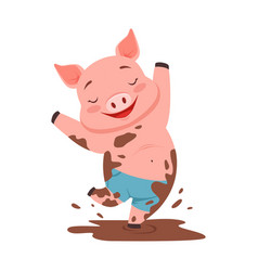 cute happy pig jumping in a dirty pool funny vector image vector image