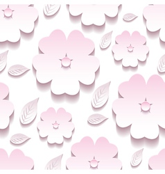 Decorative floral seamless pattern 3d sakura vector image