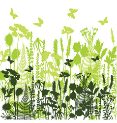 Decorative meadow silhouettes of different plants vector