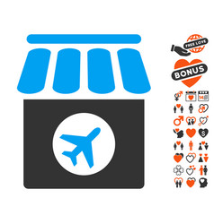 Duty free icon with dating bonus vector