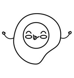 egg fried kawaii character vector image