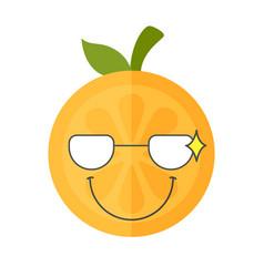 Emoji - smart smiling orange with glasses vector