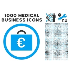 Euro bookkeeping case icon with 1000 medical vector