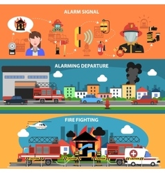 Fire Fighting Horizontal Banner vector image vector image