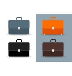Flat briefcases 4 colors icons set vector image vector image