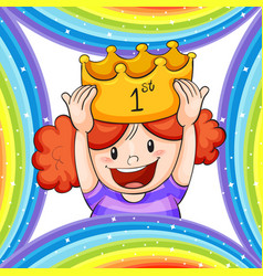 Girl wearing golden crown vector