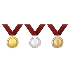 Gold silver and bronze award medals with vector
