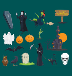 halloween monsters pumpkin ghost vecor icons vector image