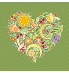 Heart of flowers leaves and berries vector