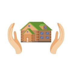 House protected by two palms vector