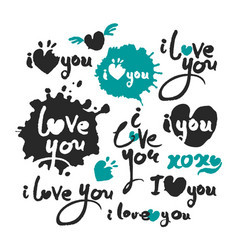 i love you calligraphy lettering set vector image