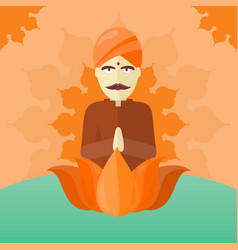 Indian man isolated on round ornate mandala vector