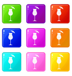 layered cocktail with umbrella icons 9 set vector image